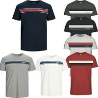 Jack and Jones T Shirt Mens Stripe Crew Neck Short Sleeve Casual  Tops S TO .8XL