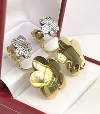 18k Solid Two Tones Gold Flat FlowerReversible Polished Italian Earrings, 6.38Gr