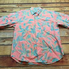 90s VTG BUGLE BOY Floral NEON Pink XL Shirt VAPORWAVE Skate Surf Hawaiian Tropic
