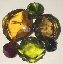 Antique Rhinestone Multi-Gemstone Pin Brooch marked W. Germany Great colors!