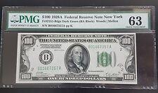 KEY YEAR $100 1928A PMG 63 High Grade 2151-Bdgs New-York FEDERAL TOP QUALITY RAR