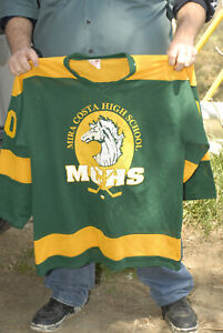 Mira Costa High School Hockey Jersey mesh vintage projoy Mustang art green gold