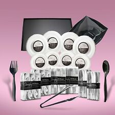 480 Piece Disposable Dinner Set With Platters & Bowls Silver Rims 80 People