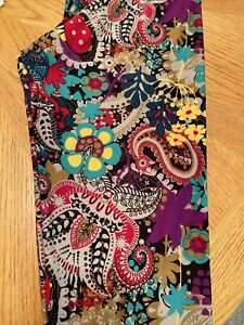 LuLaRoe TC Leggings Colorful Neon Paisley Floral Super Major Unicorn Tall Curvy