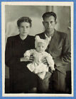 1960's photo from the USSR: Parents with daughter Unusual Hat