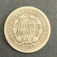 1857 United States Half Dime Five Cent Silver   MP119