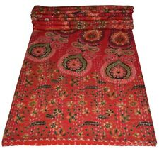 Indian Embroidery Kantha Quilt Bedspread Mandala Throw Cotton Red