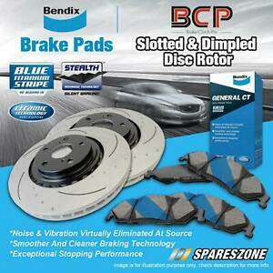 Front Slotted Disc Rotors + Bendix Brake Pads for Honda Accord CM5 2.4L 06-08