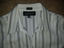JONES NEW YORK COLLECTION PETITE WHITE/BLACK STRIPED BLOUSE SHIRT TOP SIZE 4P