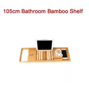 Bamboo Bath Shelf Bathroom Bathtub Shelf Rack Retractable Book Wine Glass Holder