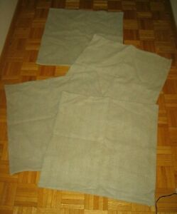 "LOT OF 4 POTTERY BARN Taupe Textured Cotton Pillow Covers 24"" x 24"""