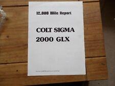 """COLT 2000 Sigma GLX roadtest RE-PRINT """"Moteur"""" juillet 78 Rétro Classique rare objet"""