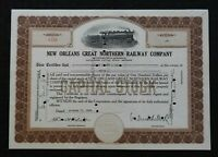 1933 NEW ORLEANS GREAT NORTHERN RAILWAY COMPANY STOCK CERTIFICATE NICE SHAPE