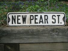 "Mid-century NEW PEAR ST. #10 metal vintage antique street sign 24""x6"""