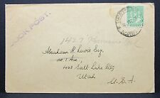 India Book Post Hand Stamp Cover to Utah USA Indien Bücher Brief Stempel (I-6981