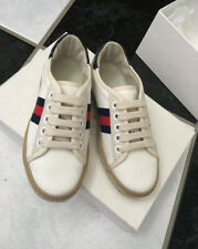 NIB 100% AUTH GUCCI Kid's Off White Canvas Lace Up Sneakers Espadrilles 311524