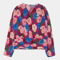 ZARA WOMAN NWT SALE! RED FLORAL PRINT DRAPED TOP SIZE M REF: 7935/070