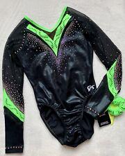 New GK ELITE Gymnastics LEOTARD Competition BLACK GREEN Rhinestones Mesh Size AL