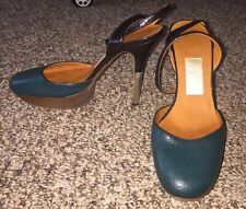 Lanvin Leather Strappy Slingback Sandals Heels Shoes Size 35