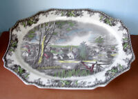 "Johnson Brothers FRIENDLY VILLAGE Large Oval Serving Dish Turkey Platter 20"" New"