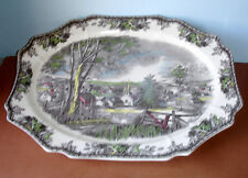 "Johnson Brothers FRIENDLY VILLAGE Large Oval Serving Dish Turkey Platter 20"" New"