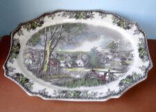 "Johnson Brothers FRIENDLY VILLAGE Large Oval Meat Dish 20"" Turkey Platter New"