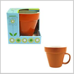 PLANT POT SHAPED MUG CERAMIC CUP TEA COFFEE GARDENING GIFT NOVELTY secret santa