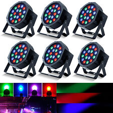 6Pack DJ PAR 18*3W LED Lights Wash RGB PAR64 DMX Stage Lighting DJ Party Lights