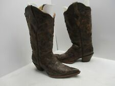 Corral Brown Crackle Leather Inlays Pointed Toe Cowboy Boots Sz 8.5 W Sty C2109
