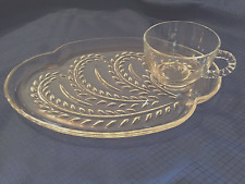 Vintage Federal Glass Snack Tray Set Cup Platter Wheat Fern Pattern Homestead