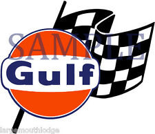 4 INCH GULF RACING CHECKERED FLAG GASOLINE OIL DECAL STICKER RIGHT