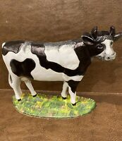 Large 1950 Vintage Hand Painted Cast Iron Cow Porch Decor/Door Stop/Paperweight