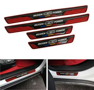 4x Mugen Red Rubber Carbon Fiber Car Door Scuff Sill Cover Panel Step Protector