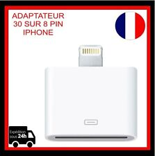 Adaptateur  LIGHTNING 30 PIN iPhone 4 vers 8pin Blanc iPhone 5 5S 5C 6 Plus 7