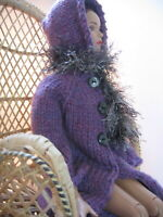 """Doll Clothes Purple Hooded Coat Scarf Hand Knit fits 16"""" fashion as Tonner Tyler"""
