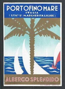 Hotel Splendido PORTOFINO MARE Italy - vintage luggage label
