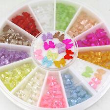 HK- Multicolor 3D Bow Knot Tie Stickers Studs DIY Nail Art Tips Decor Wheel Spir