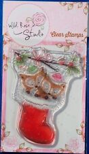 Wild Rose Studio 'Foxes in Stocking' Clear Stamp