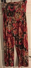LBISSE Sz M Pink Rainbow Snake Pattern Stretch Knit Soft PALAZZO Pants