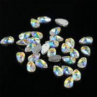 48 Pcs Water Tear Drop Shape Crystal AB Rhinestone Flatback Nail Art Decoration