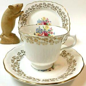 Vintage VALE English Bone China Tea Cup, Saucer, Square Plate TRIO Chintz Band