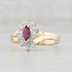 0.25ct Ruby Diamond Ring 10k Yellow Gold Size 7.25 Marquise Solitaire