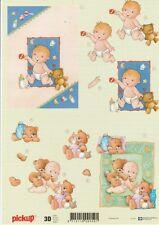 Feuille 3D à découper A4 - Pickup-031 Naissance bébé - Decoupage Baby