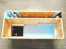 Large Wooden Shipping/Road Case on 6 Casters - 3 compartments & removable shelf
