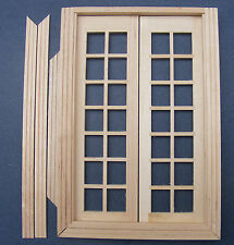 1 12 Scale Dolls House Glazed Double French Wood Doors & Frame DIY Accessory 258