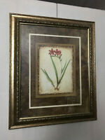 framed & matted print, floral, signed, 20 x 24 inches