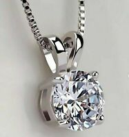 2.00 Ct Round Cut VVS1 Diamond Solitaire 4-Prong Pendant 14K White Gold Over
