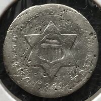 1851 O Three Cent Piece Silver Trime 3c rare New Orleans Mint  #11686