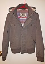 Womens Gray TNA 'Maverick' Coat With Detachable Hood And Flannel Lining, Small