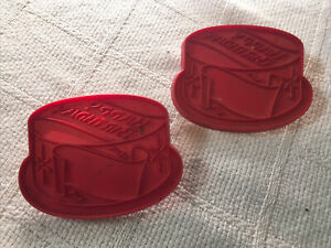Lot Of 2 Vintage Tupperware Red Happy Birthday Cake Cookie Cutter made in USA